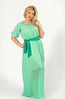 Красивое женское платье в пол под пояс в горошек рукав три четверти шифон батал