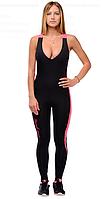 Женский спортивный комбинезон боди черные с розовой полосой  PANTERA PINK