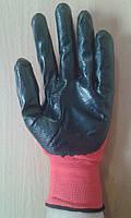 Перчатки синтетические с нитриловым  обливом, красно-черные (Reis)