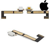 Шлейф для iPad Mini 3 Retina, коннектора зарядки, с компонентами, белый, оригинал