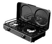 Настольная газовая плита, таганок ЭЛНА ПГ-2 На две конфорки с верхней крышкой