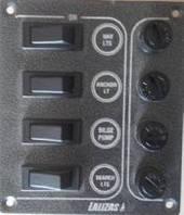 Панель на 4 выключателя постоянного тока с предохранителями