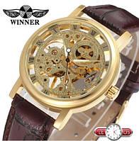 Наручные механические часы скелетоны Winner Golden Fox