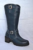 Сапоги кожаные зимние до колена на низком ходу ( каблуке ) синяя кожа