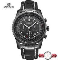 Крутые мужские кварцевые часы Megir Dragon с хронографом
