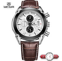 Оригинальные кварцевые мужские часы Megir Montre хронограф