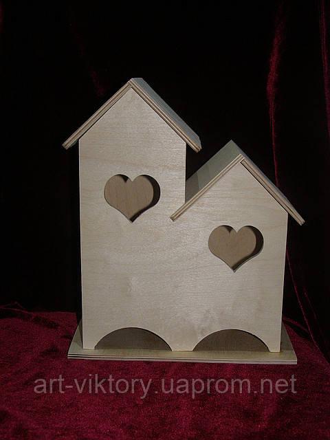 Домик для чайных пакетиков (заготовка) двойной сердечки (23 х 27 х 13,5 см)