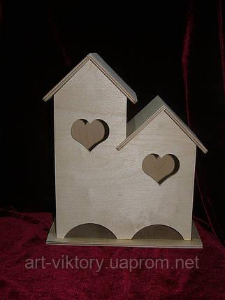 Домик для чайных пакетиков (заготовка) двойной сердечки (23 х 27 х 13,5 см), фото 2