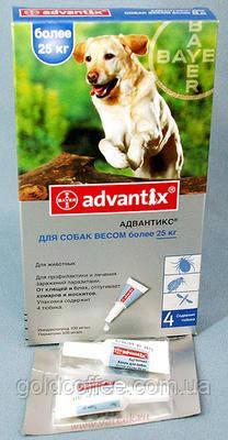 Advantix (Адвантикс) капли от блох и клещей для собак больше 25 кг. 1 пипетка