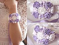 """""""Сиреневое вдохновение"""" авторский браслет на руку с цветами из полимерной глины, фото 1"""