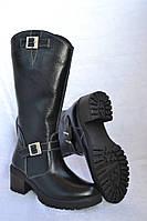 Сапоги кожаные зимние черные с искусственным мехом