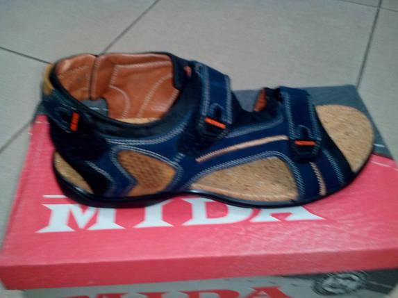 Мужские спортивные сандалии, кожа MIDA 13924 нуб. синие., фото 2