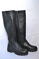 Сапоги кожаные зимние черные женские на низком каблуке ( европейка )