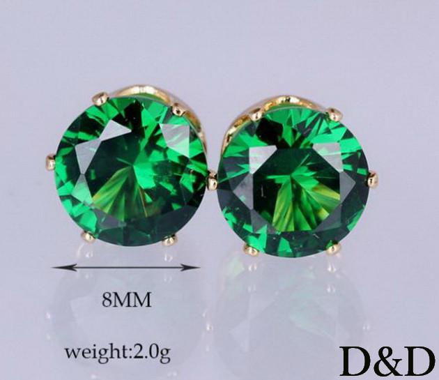 Серьги - гвоздики зеленые золото