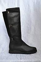 Сапоги кожаные черные без каблука высокие, фото 1