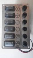 Панель на 6 выключателей постоянного тока с предохранителями