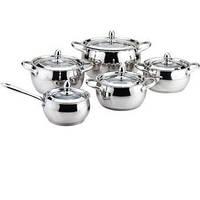 Набор посуды, 10 предметов (стеклянные крышки) Maestro