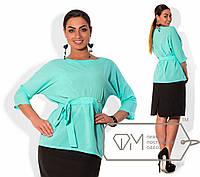 Блузка женская яркая с поясом батал