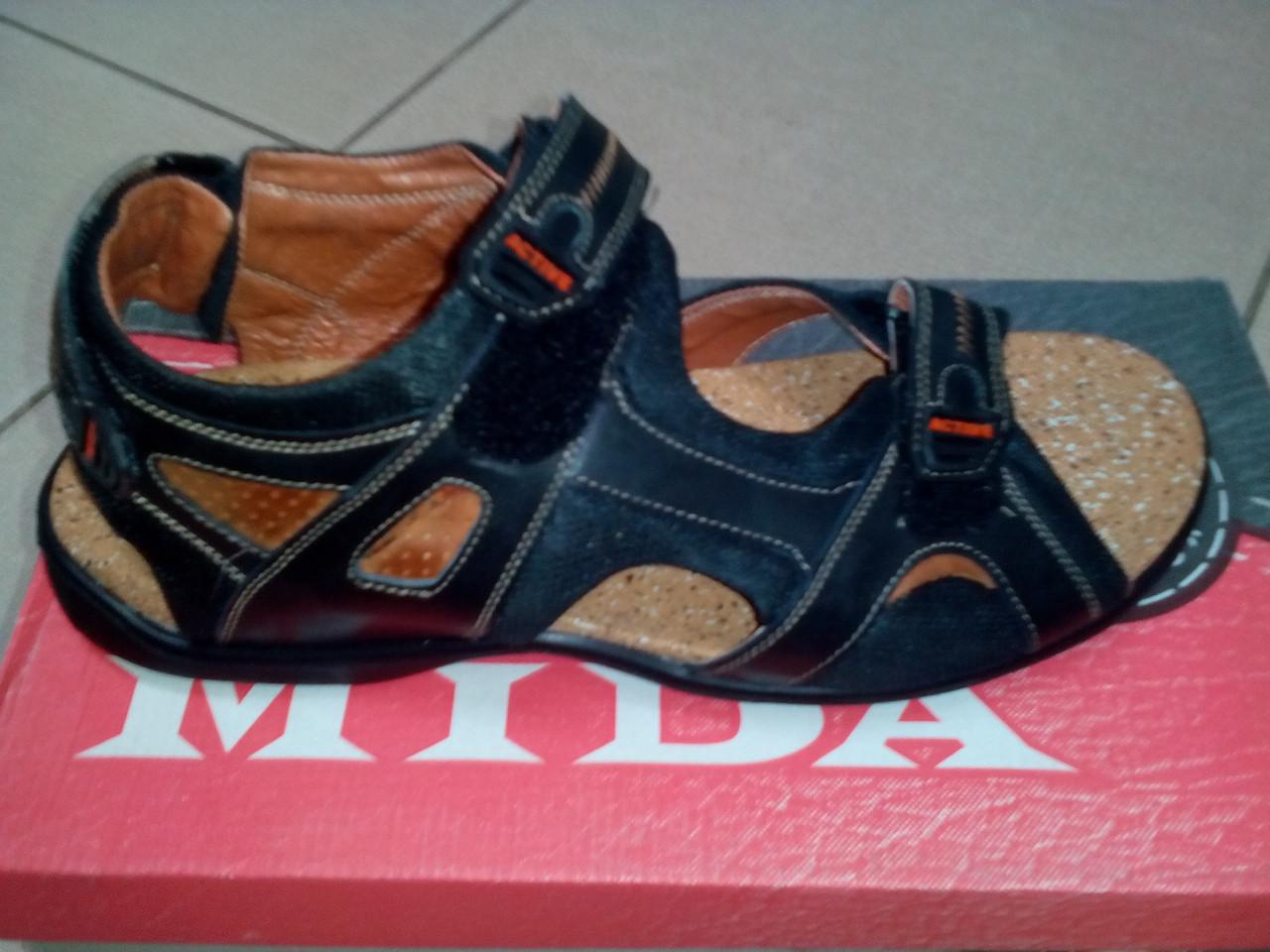Мужские спортивные сандалии, кожа MIDA черные.
