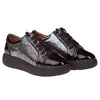 Модные женские туфли Kento (летние, весенние ,кожа+лак, черные, на шнуровках, удобные, на платформе)