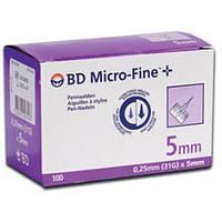 Иглы БД Микрофайн/BD Microfine 31G (0,25х5 мм) для инсулиновых шприц-ручек №100