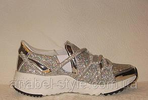 Кроссовки женские  модные серебряного цвета, фото 2