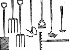 Садовый инвентарь: топоры, грабли, лопаты, совки, метлы, ведра