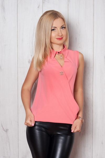Шелковая блуза без рукавов Шанель, кораллового цвета