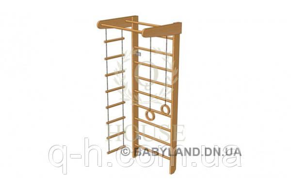 Стенка шведская с турником, кольцами, канатом и лестницей большая, фото 2