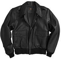 Кожаная летная куртка A-2 Goatskin Leather Jacket Alpha Industries (черная)