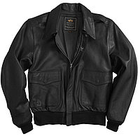 Кожаная летная куртка Alpha Industries A-2 Goatskin Leather Jacket MLA21019P1 (Black), фото 1