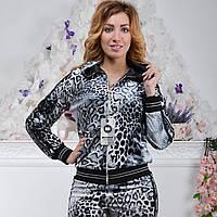 Брендовый турецкий велюровый костюм Bono «Серебристый леопард» разм с 42 по 50