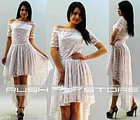 Гипюровое платье со шлейфом
