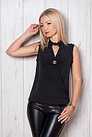 Эффектная женская блуза черного цвета без рукавов