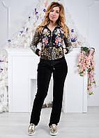 Женский велюровый турецкий костюм Ronay «Леопард + цветы », рам 42,44,46, 48,50,52, фото 1