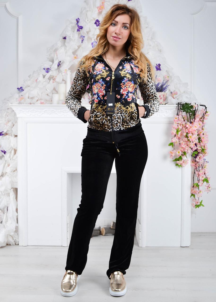 Женский велюровый турецкий костюм Ronay «Леопард + цветы », рам 42,44,46, 48,50,52