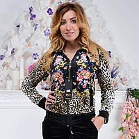 Брендовый турецкий велюровый костюм Ronay « Леопард + цветы » разм с 42 по 52