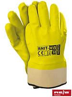 Защитные перчатки, покрытые нитрилом флуоресцентного цвета, отделанные жесткой манжетой RNIT-VIS SE