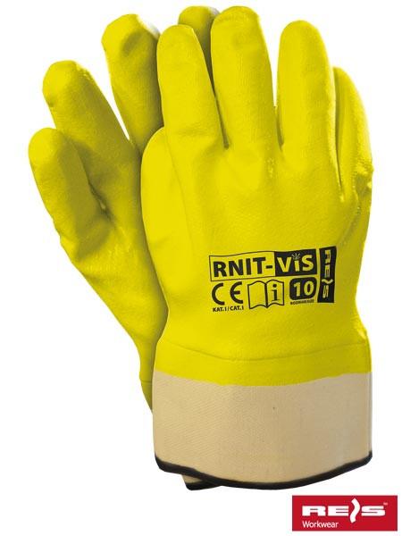 Захисні рукавички, вкриті нітрилом флуоресцентного кольору, оздоблені жорсткої манжетою RNIT-VIS SE