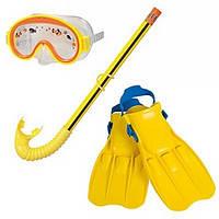 Набор для плавания Intex 55951 3-8лет, набор детский маска+трубка+ласты, набор для дайвинга Intex