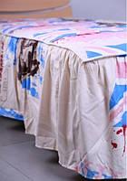 Покрывало 0,8 с юбкой в ткани Англия беж