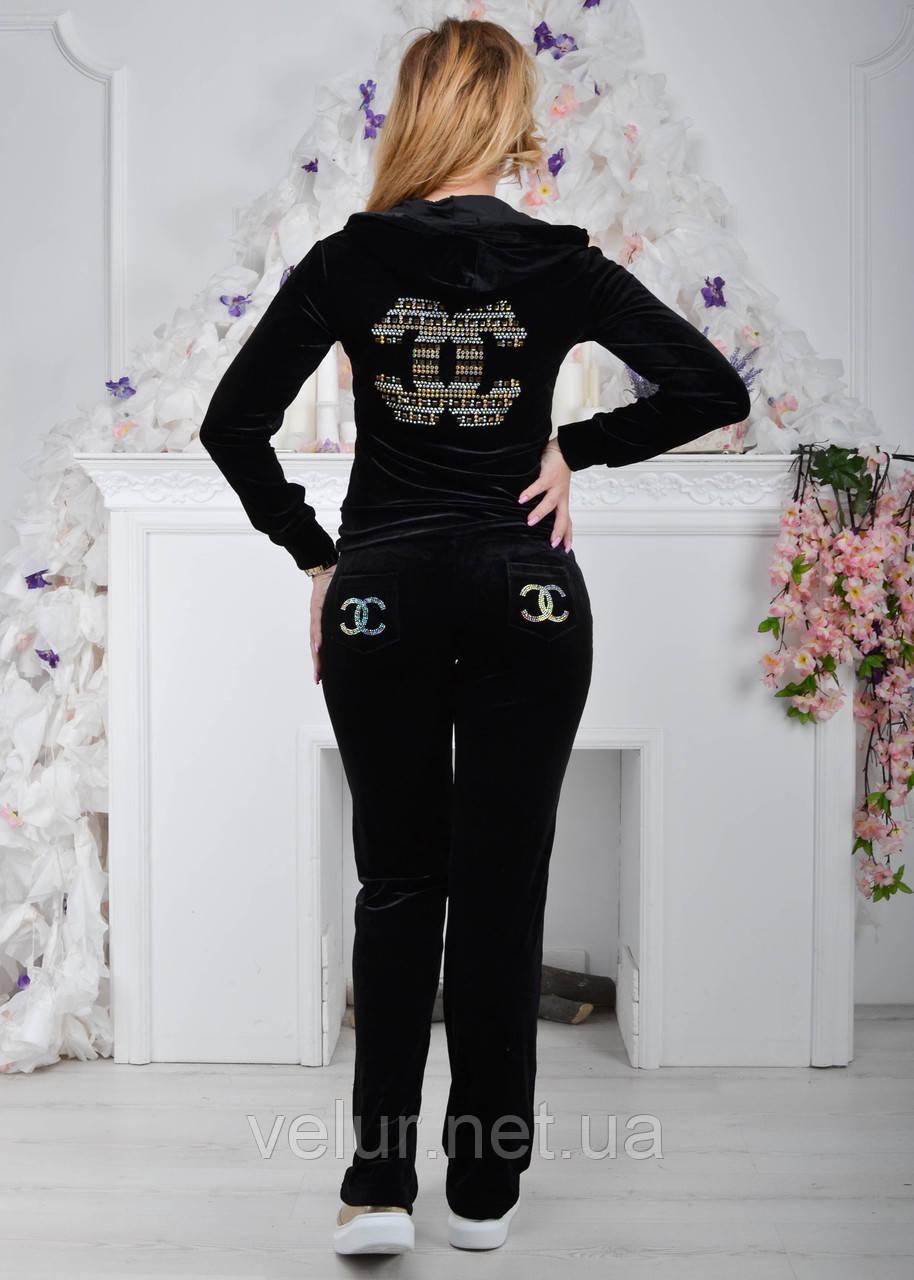572ab69a Черный брендовый турецкий велюровый костюм Ronay с логотипом «Chanel» раз с  42 по 50