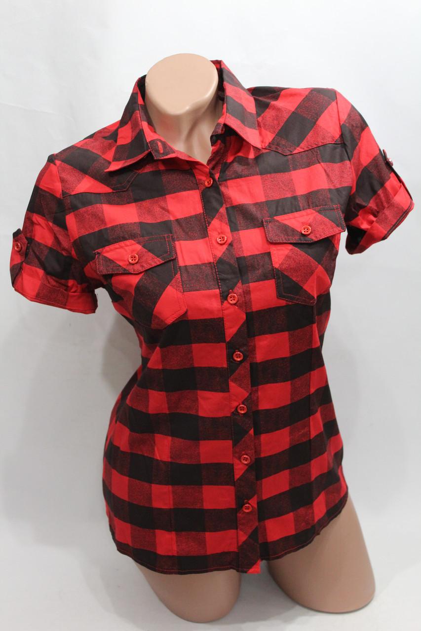 Женская молодежная рубашка в клетку короткий рукав оптом в Хмельницком