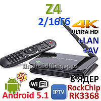 Z4 Rockchip RK3368 8 ядер Android TV приставка 2GB/16Gb
