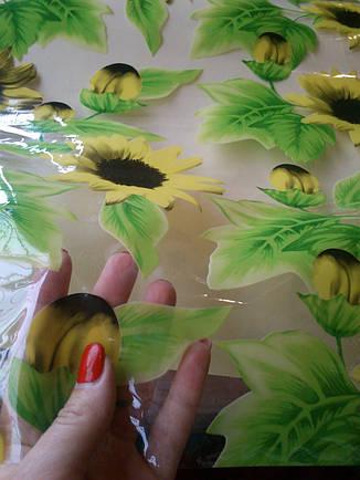 Клеёнка прозрачная силикон с подсолнухами, фото 2
