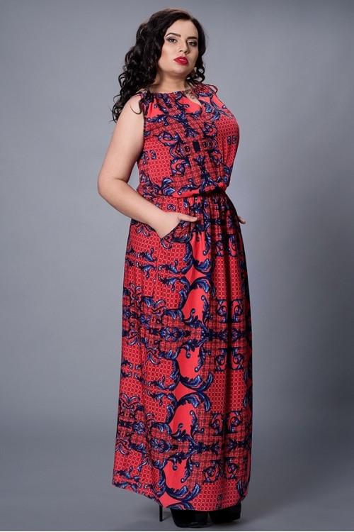 Длинное платье в пол из штапеля большие размеры