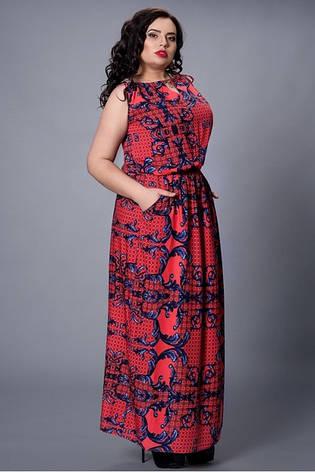 Длинное платье в пол из штапеля большие размеры, фото 2