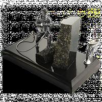 "Скульптура латунная ""Шахтер"" со вставками, на подставке из мрамора 2.13.0134л"