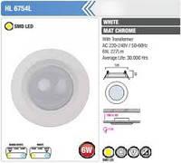 Светодиодный светильник  HL6754L 6W белый,матовый хром  3000K 220-240V / 50-60Hz,480Lm,