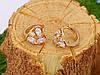 Сережки позолочені, Серце з цирконієм, Xuping, 18К, фото 3